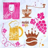 Food and drink watercolor set coffee wine beer Royalty Free Stock Photos