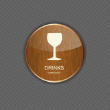 Food and drink wood application icons Royalty Free Stock Photos