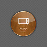 Food and drink wood application icons Royalty Free Stock Image
