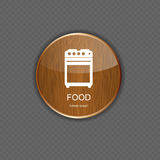Food and drink wood application icons Stock Image