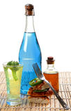 Food and drinks. Food with drinks isolated on white background Stock Photos