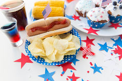 Food and drinks on american independence day party Royalty Free Stock Photography