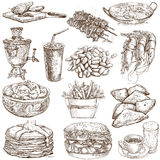 Food and Drinks. Around the World (no. 3) - full sized drawings Royalty Free Stock Photos