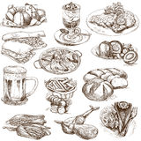 Food 2. Food and Drinks around the World (set no.2, white set) - Collection of an hand drawn illustrations. Description: Full sized hand drawn illustrations Royalty Free Stock Images