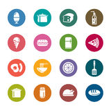 Food and Drinks Color Icons Stock Photography