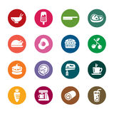 Food and Drinks Color Icons. A collection of different kinds of food and drinks color icons. It contains hi-res JPG, PDF and Illustrator 9 files stock illustration