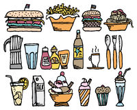 Food and drinks / Color restaurant stuff Royalty Free Stock Photo