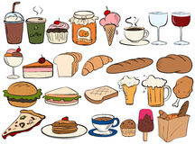 Food and drinks. Different type of food and drinks royalty free illustration