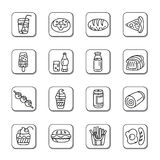 Food and Drinks Doodle Icons Royalty Free Stock Image