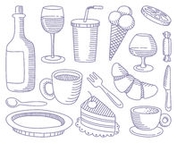 Food and Drinks doodles Royalty Free Stock Photos