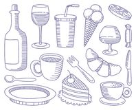 Food and Drinks doodles Stock Photos