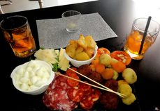 Food and drinks. Food drinks bar aperitif lunch stock photo