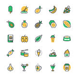 Food, Drinks, Fruits, Vegetables Vector Icons 4 Stock Photos