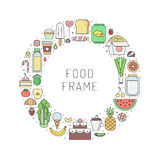 Food and drinks grocery shop outline circle frame. Part two. Food and drinks grocery shop outline circle frame illustration. Clean and simple design. Part two Royalty Free Stock Photo