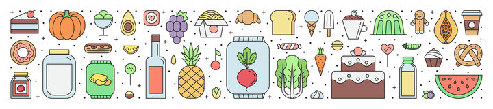Food and drinks grocery shop outline horizontal illustration. Clean and simple design Royalty Free Stock Image