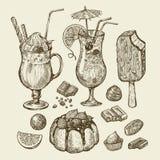 Food and drinks. Hand drawn cocktail, smoothie, pie, pasty, cake, ice lolly, sundae, milkshakes, chocolates, dessert Stock Photos