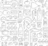 Food, drinks and household cleaning items Seamless Pattern in linear simple style. Vegetables, fruits, fish, meat, dairy food, grocery, canned goods, household Royalty Free Stock Image