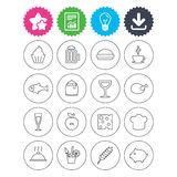 Food and Drinks icon. Beer, coffee and cocktail. Download, light bulb and report signs. Food and Drinks icons. Beer, coffee and cocktail symbols. Fish and pork Royalty Free Stock Photos