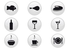 Food and Drinks Icon Set. Vector illustration Royalty Free Stock Photo
