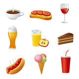 Food and drinks icon set Royalty Free Stock Photo