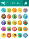 Food and Drinks. Icon set. Suitable for web apps, mobile apps and print media Stock Photography