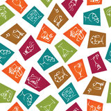 Food and drinks icon stickers seamless Stock Photo