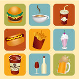 Food and drinks icons Royalty Free Stock Photos