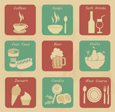 Food and drinks icons. Over cream background vector illustration stock illustration