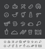 Food and Drinks Icons - Set 2 of 2 // Black Line Series Royalty Free Stock Images