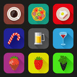 Food and drinks icons set. Flat design. Vector illustration Royalty Free Stock Photos