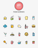 Food and Drinks icons. Set of Flat Line Color Food and Drinks icons. Vector royalty free illustration