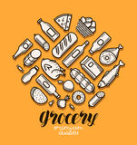 Food and drinks icons set. Grocery store banner. Vector illustration Royalty Free Stock Photography