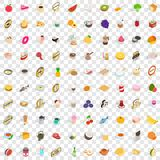 100 food and drinks icons set, isometric 3d style. 100 food and drinks icons set in isometric 3d style for any design vector illustration Stock Images