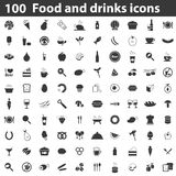 100 food and drinks icons. Simple black image set on white background Stock Photography