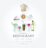 Food and drinks icons with text Stock Photo