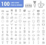 100 food and drinks line icons. Fast food, fruits and vegetables, tea and coffee, bakery, breakfast, bottles and other icons Royalty Free Stock Photography