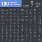 100 Food and Drinks Line Icons. Fast food, fruits and vegetables, tea and coffee, bakery, breakfast, bottles and other icons vector illustration