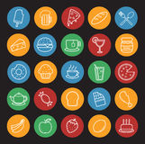 Food and drinks linear icons set. Color Stock Photo