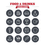 Food and Drinks linear icons set. Thin outline. Food and Drinks linear icons set. Beer, coffee and cocktail symbols. Fish and pork meat, hamburger and cheese Royalty Free Stock Images