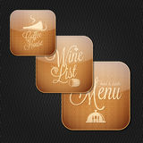 Food and drinks menu icon set Stock Photos