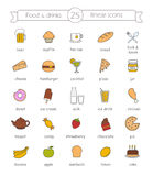 Food and drinks, nutrition color icons set Royalty Free Stock Photos