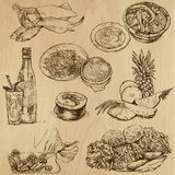 Food and Drinks, pack 09. Food and Drinks around the World (set no. 9) - Collection of an hand drawn illustrations. Description: Each drawing comprise of two Stock Photos