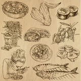 Food and Drinks, pack 10. Food and Drinks around the World (set no. 10) - Collection of an hand drawn illustrations. Description: Each drawing comprise of two Royalty Free Stock Image