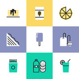 Food and drinks pictogram icons set Stock Photography