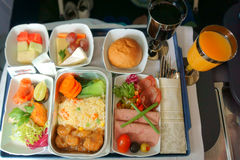 Food and drinks on the plane Stock Photography