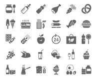 Food, monochrome icons, vector. Grocery store. Food and drinks, production and sale. Gray drawings on the white field. Vector clip art Royalty Free Stock Images