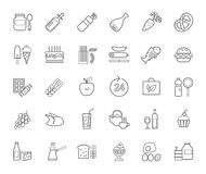Food, contour icons, vector. Grocery store. Food and drinks, production and sale. Gray line drawings on a white field. Vector clip art Stock Image