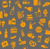 Food, seamless pattern, color, gray, orange, grocery, vector. Food and drinks, production and sale. Vector background. Orange icons on the grey field Royalty Free Stock Image