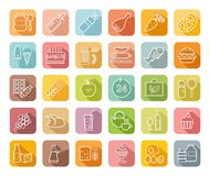 Food, contour icons, colored, grocery store, vector. Food and drinks, production and sale. White line drawings on a colored field with a shadow. Vector clip art Royalty Free Stock Photos