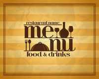 Food and drinks restaurant retro menu concept design style. Vector illustration Royalty Free Stock Photo